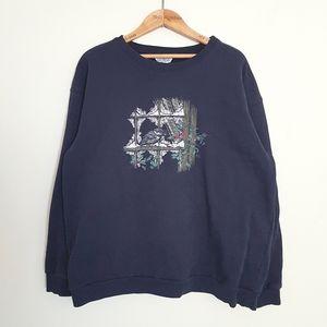 Vintage Northern Reflections Navy Bird Sweater